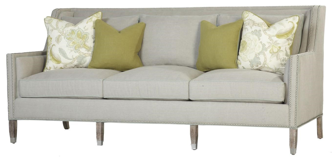 Contemporary Sofa with Thin Track Arms and Nail Head Trim