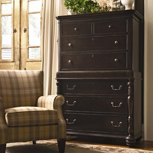 Universal Home Tall Chest with 7 Drawers and Semi-Hidden Jewelry Tray Drawer