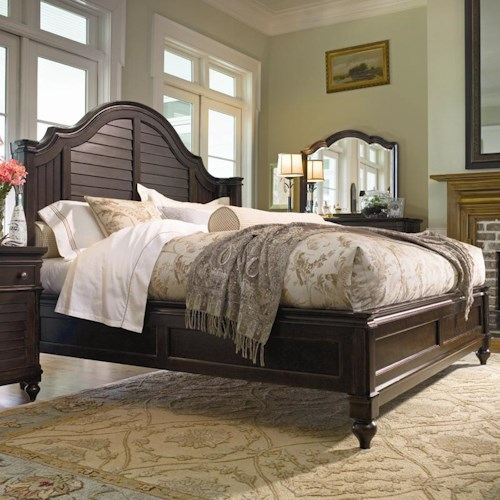Universal Home King Steel Magnolia Bed with Panel Headboard and Low Footboard