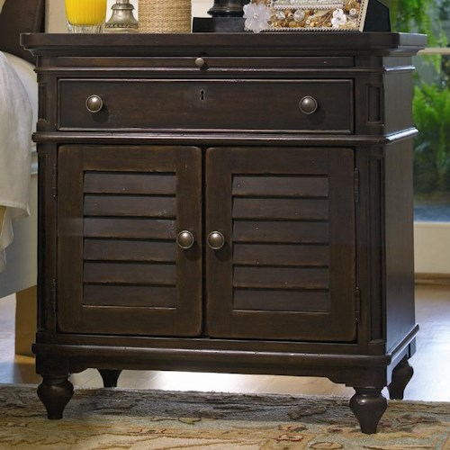 Universal Home Louvered Door Nightstand with Pull-Out Shelf
