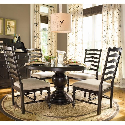Universal Home Round Dining Table w/ 4 Ladder Back Side Chairs