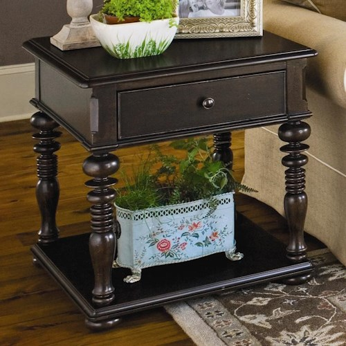 Universal Home Rectangular End Table with 1 Drawer and 1 Shelf