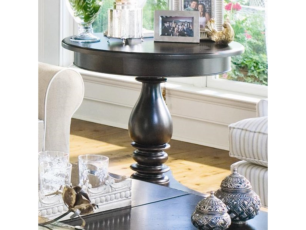 Paula Deen Home Round Side Table With Turned Pedestal By Paula Deen By Universal At Dubois Furniture