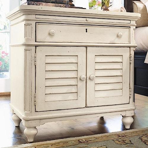 Paula Deen by Universal Paula Deen Home Louvered Door Nightstand with Pull-Out Shelf