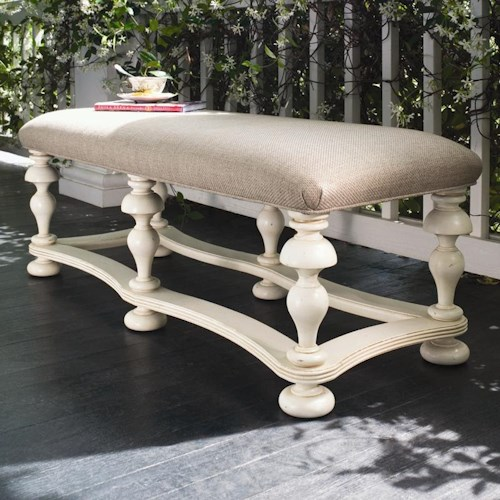 Paula Deen by Universal Paula Deen Home Bed End Bench with Upholstered Seat and Turned Legs