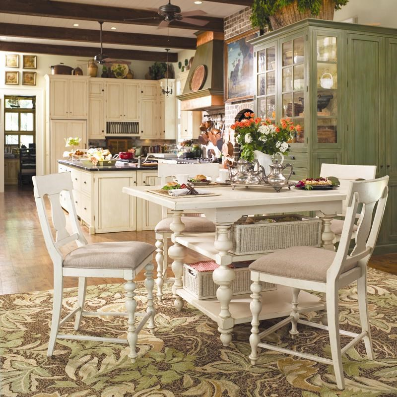 Paula Deen by Universal HomeGathering Table Set w/ 4 Counter Chairs  sc 1 st  Baeru0027s Furniture & Paula Deen by Universal Home Gathering Table Set w/ 4 Counter Height ...