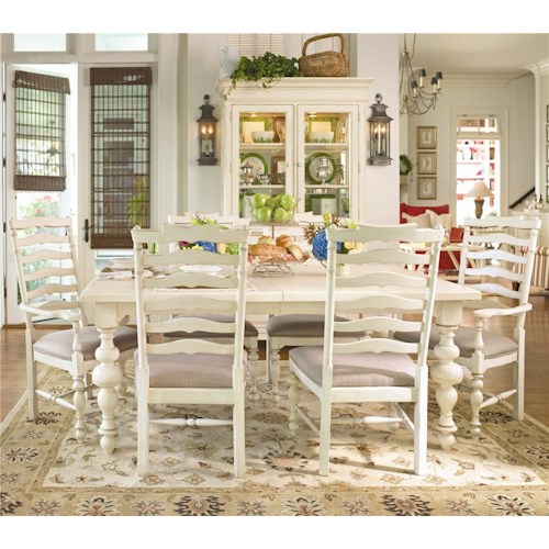 Universal Home Paula's Leg Table w/ 2 Ladder Back Dining Arm Chairs & 4 Dining Side Chairs