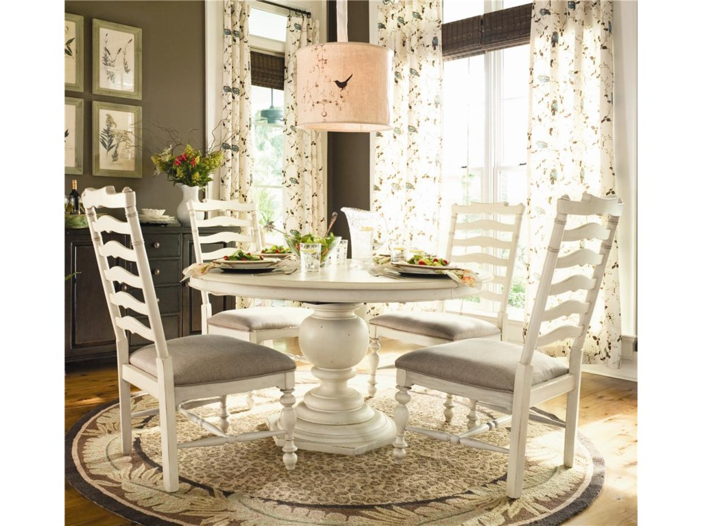 Paula Deen Home Round Dining Table W 4 Ladder Back Side Chairs By Paula Deen By Universal At Suburban Furniture