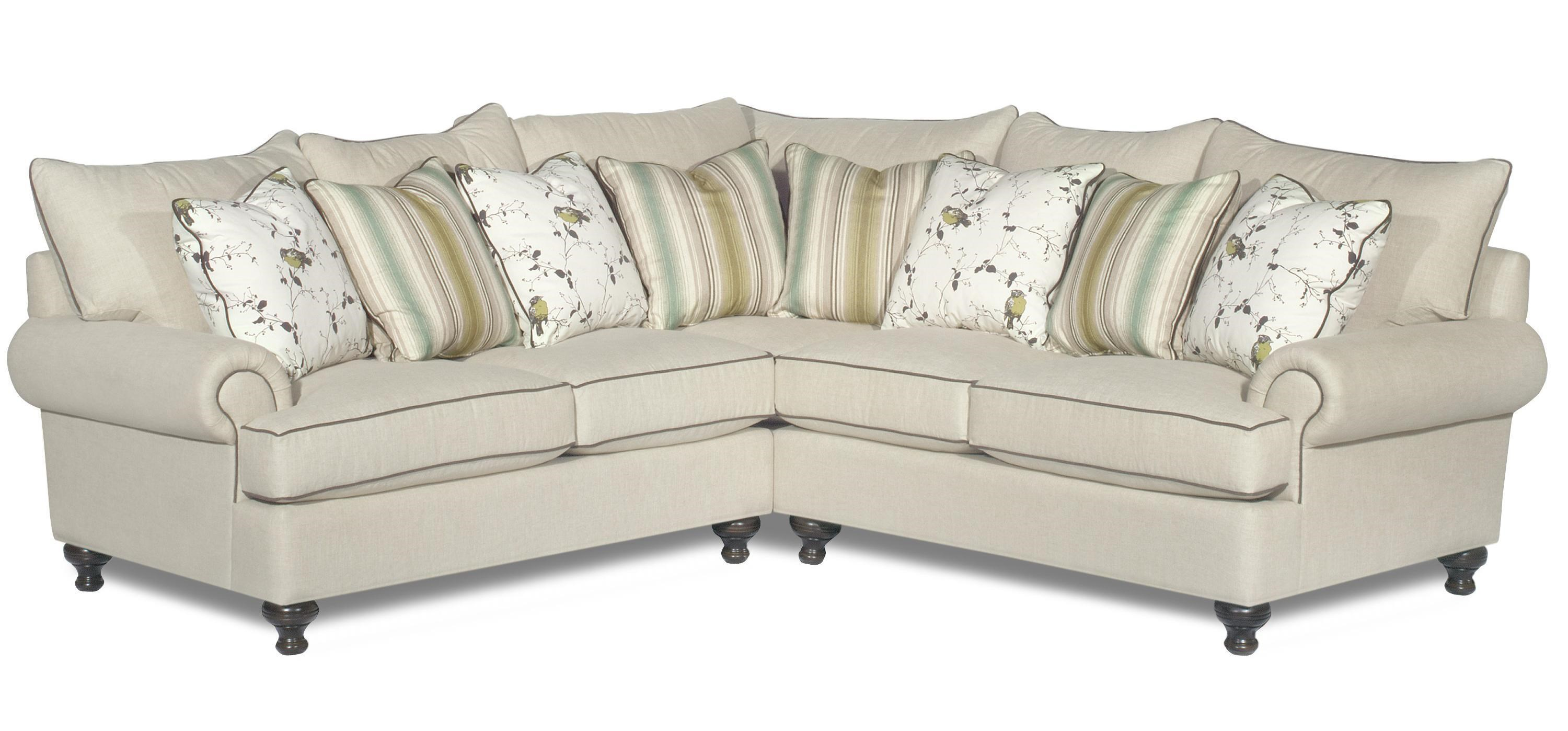 Paula Deen By Craftmaster P711700 2 Piece Sectional Sofa With Rolled Arms  And Turned Feet
