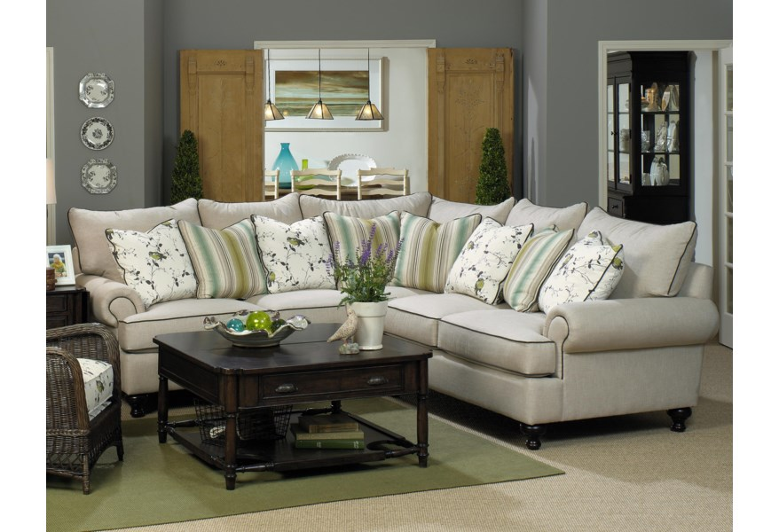 Simple Office Room Design, Paula Deen By Craftmaster P711700 2 Piece Sectional Sofa With Rolled Arms And Turned Feet Sprintz Furniture Sectional Sofas