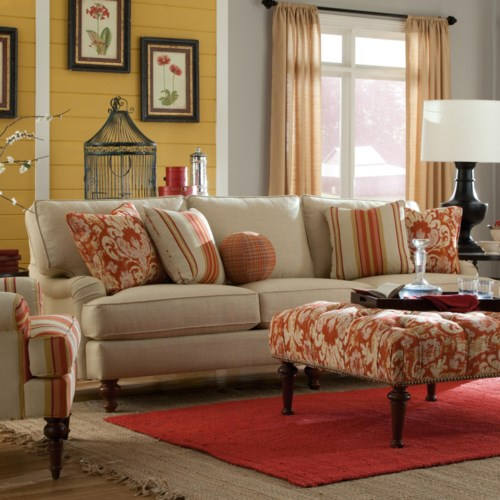 Paula Deen by Craftmaster P734300 Sofa with English Arms