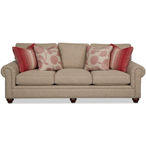 Paula Deen By Craftmaster P7552 Traditional Sofa With Roll Pleated Arms