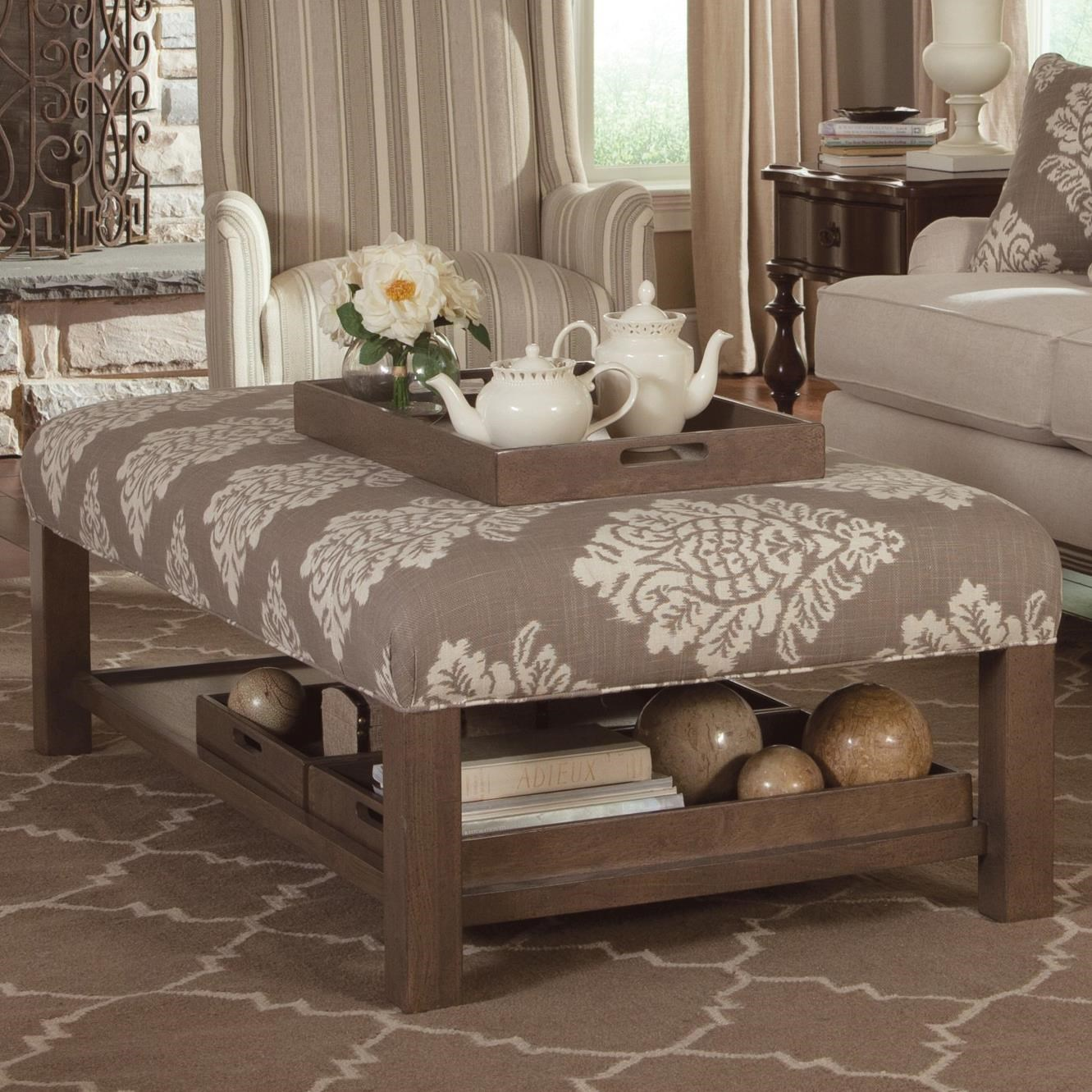 Paula Deen By Craftmaster Paula Deen Upholstered AccentsStorage Bench  Ottoman With Tray Storage ...