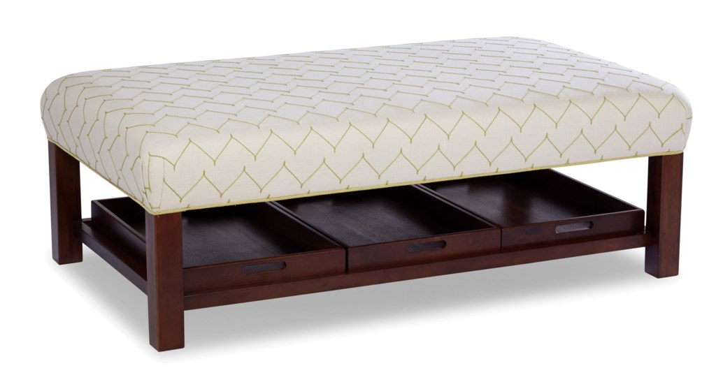 Paula deen by craftmaster paula deen upholstered accents contemporary storage bench ottoman with three storage trays