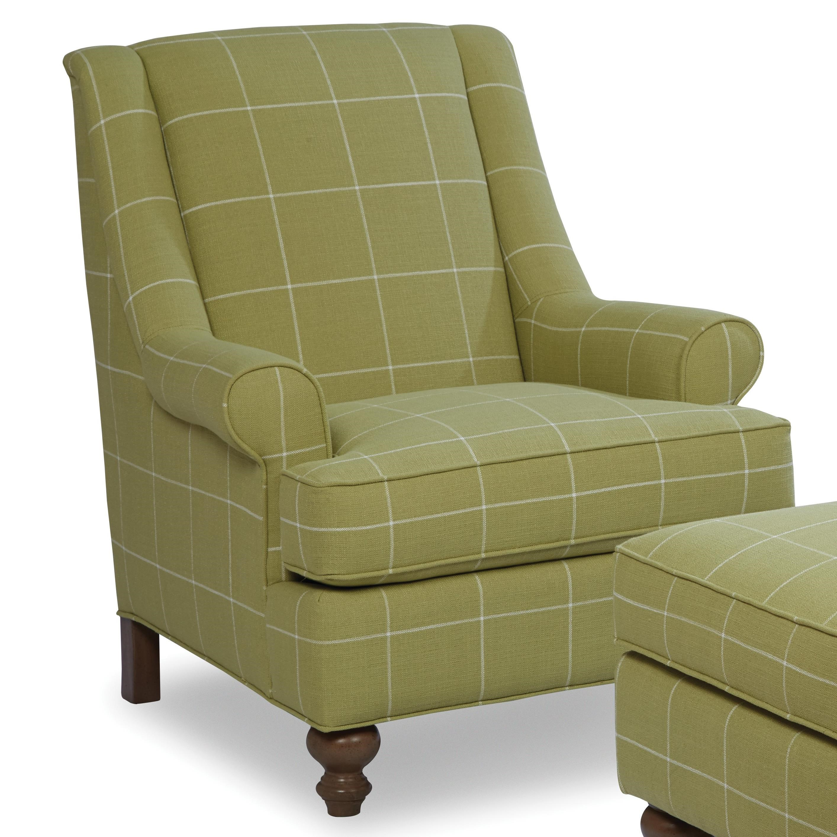 Paula Deen By Craftmaster Paula Deen Upholstered Accents Traditional Chair  With Modified Wing Back And Turned