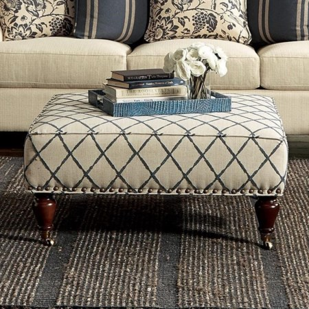 Ottoman with Light Brass Nails