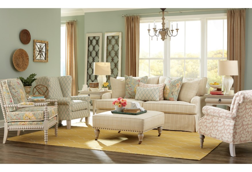 Simple Office Room Design, Paula Deen By Craftmaster Paula Deen Upholstered Accents Traditional Spool Turned Chair With Flange Welt Sprintz Furniture Exposed Wood Chairs