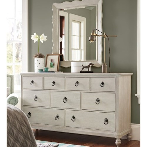 Paula Deen by Universal Bungalow Cottage Seven Drawer Dresser and Mirror