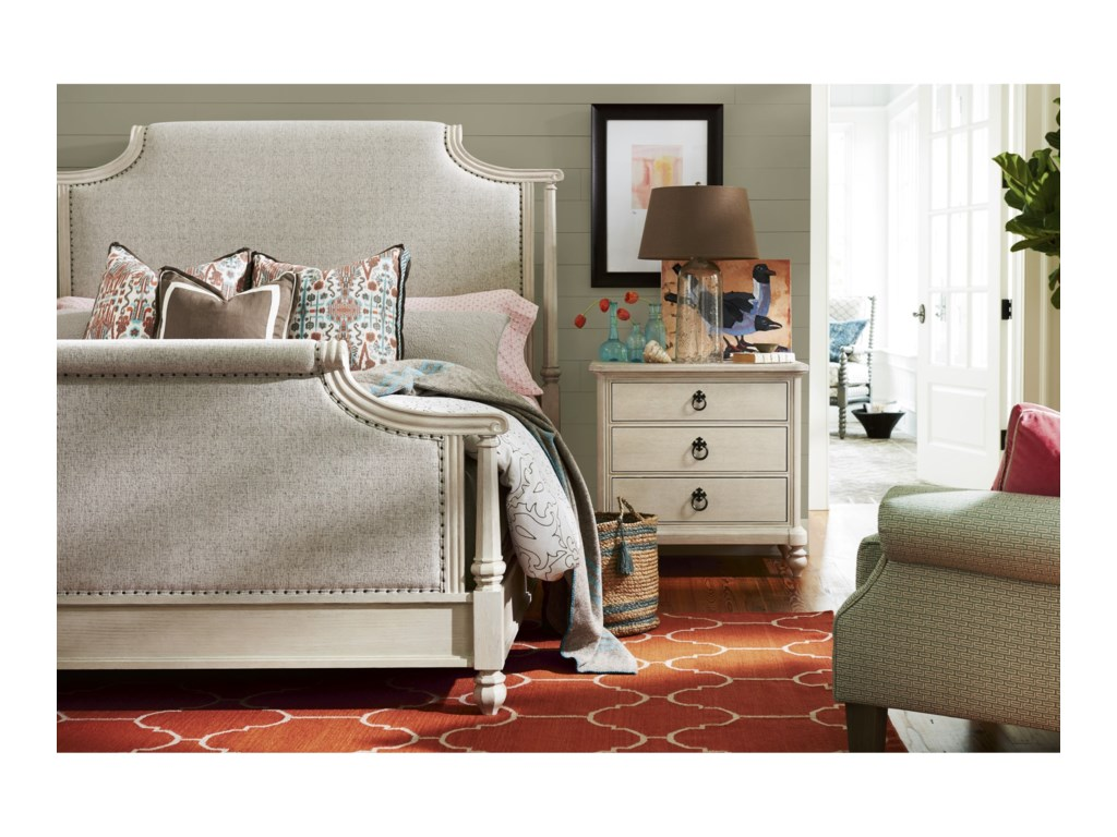Paula Deen Bluffton Veranda Upholstered Queen Bed with Nail Head ...