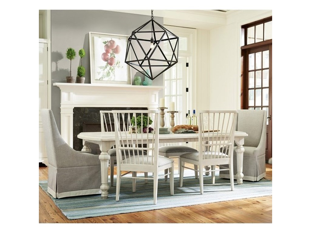 Paula Deen By Universal Bungalow Seven Piece Dining Set With Two 18 Table Leaves Windsor Back Chairs