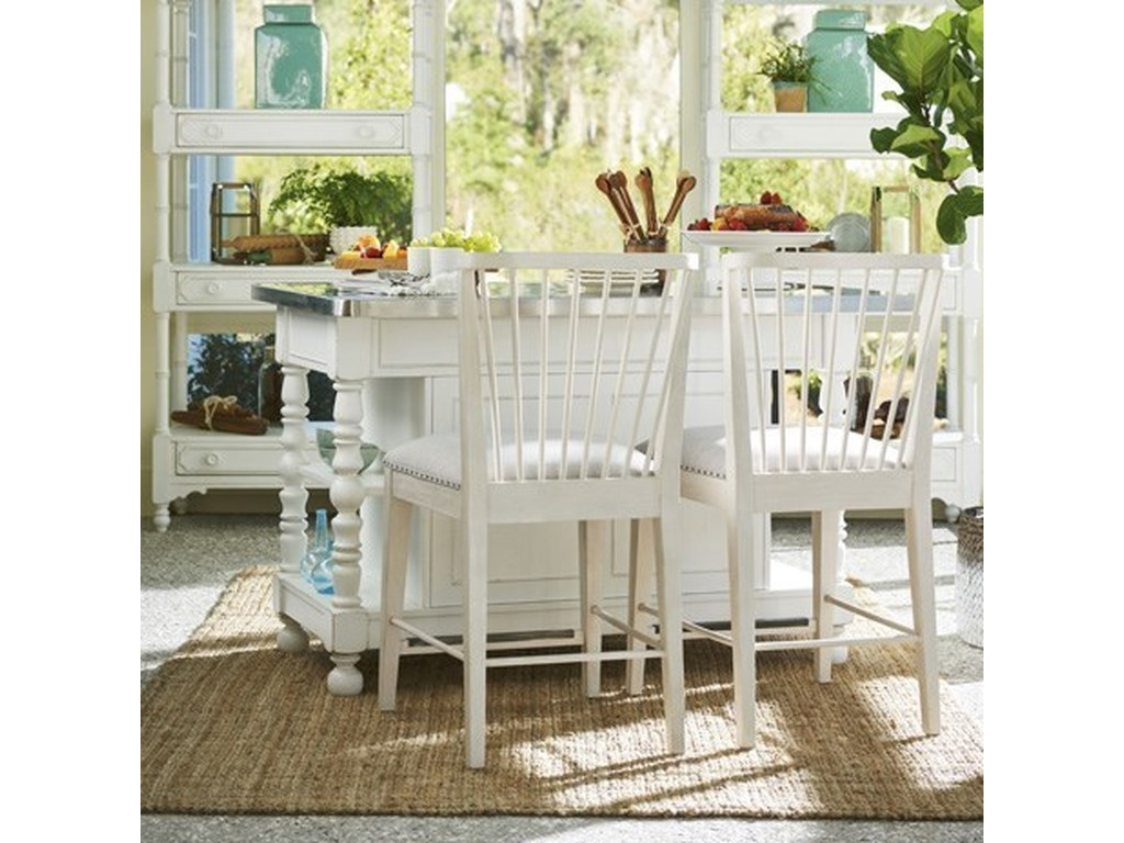 Paula Deen by Universal CottageKitchen Island with Windsor Counter Chairs