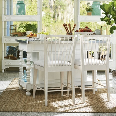 Paula Deen by Universal Bungalow Cottage Kitchen Island with Windsor Upholstered Counter Chairs