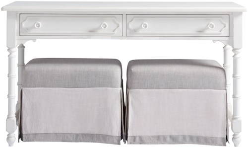 Paula Deen by Universal Bungalow Cottage Console with Upholstered Benches