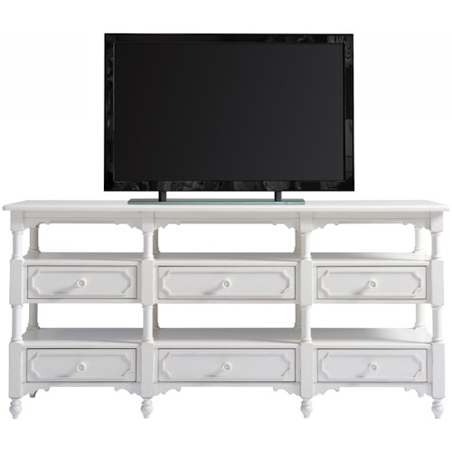 Paula Deen by Universal Bungalow Cottage Weekender Console with Six Drawers and Open Display Shelving