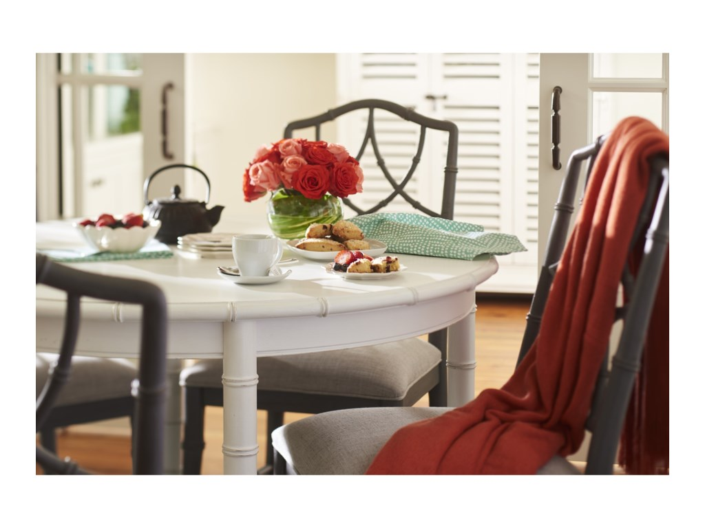 Shown in  Paula Deen Bluffton Keeping Room Upholstered Chair with Intricate  Chair Back Design. Paula Deen Bluffton Keeping Room Upholstered Chair with Intricate