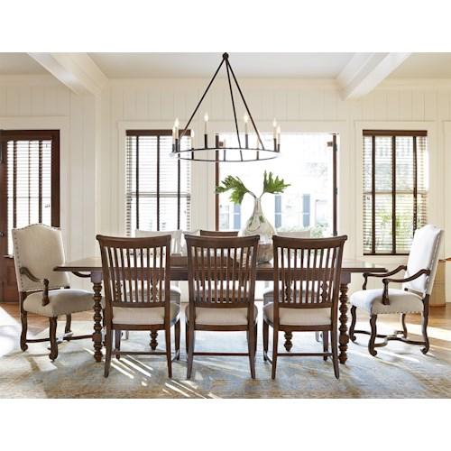 Paula Deen by Universal Dogwood 9 Piece Dining Set with Slat Back Chairs