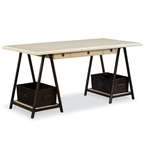 Universal River House Writing Table with 2 Storage Bins