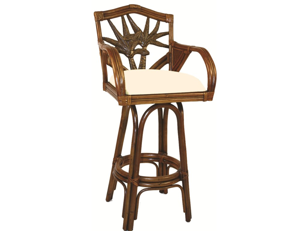 Pelican Reef Bar Stools PRHavana Palm Swivel Barstool