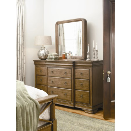 Dresser and Storage Mirror Combo