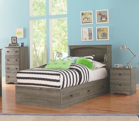 13000 Series 4 Piece Twin Storage And Bookcase Headboard