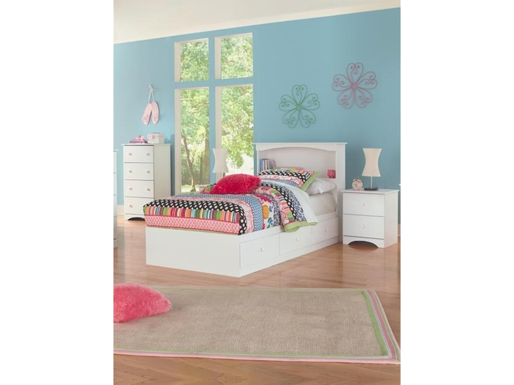 14000 Series Full Size Bookcase Headboard And Mates Storage Base By Perdue At Sam Levitz Furniture