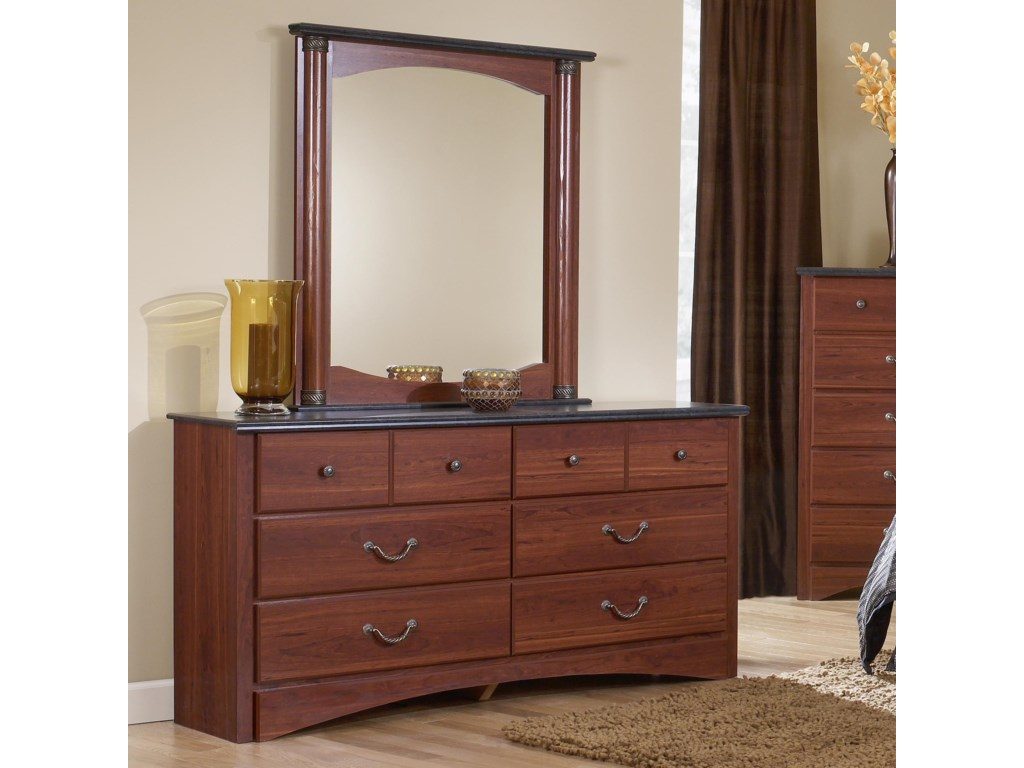 Perdue 30000 Series6-Drawer Dresser & Mirror Set