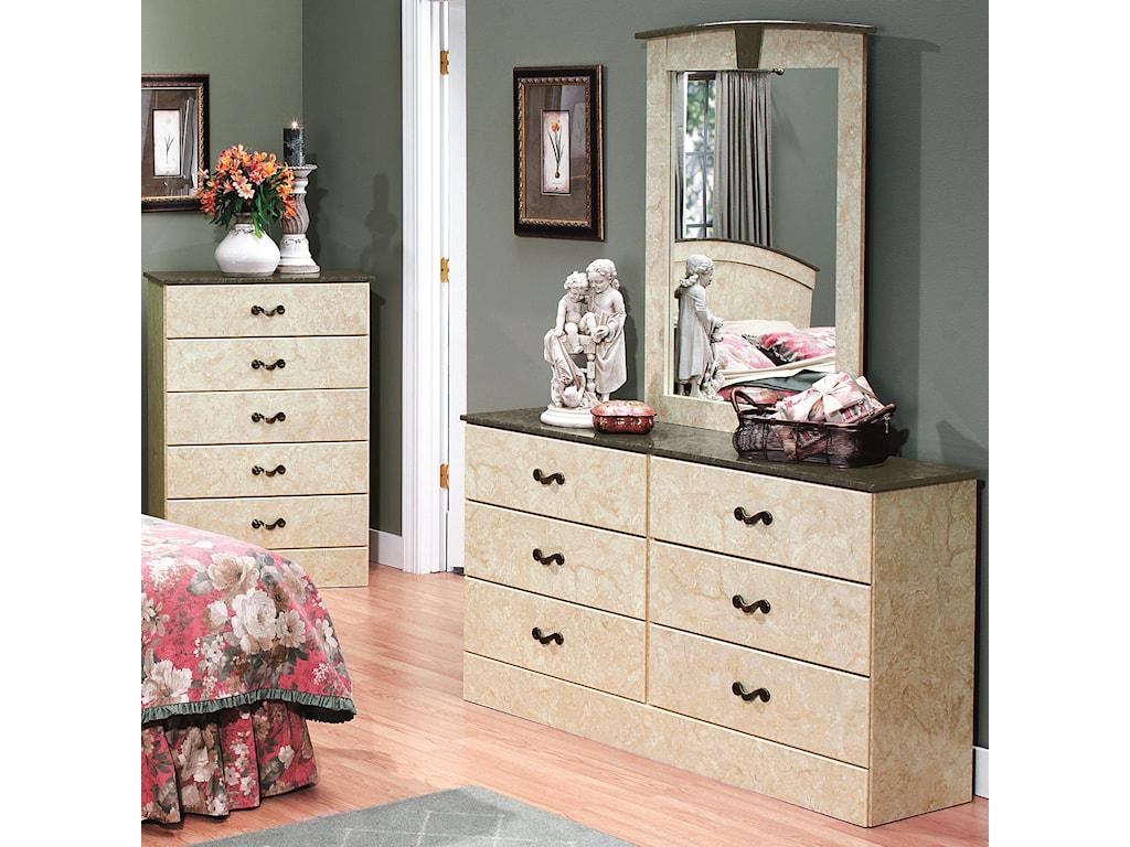 Perdue Sicilian Marble6-Drawer Dresser & Mirror Set