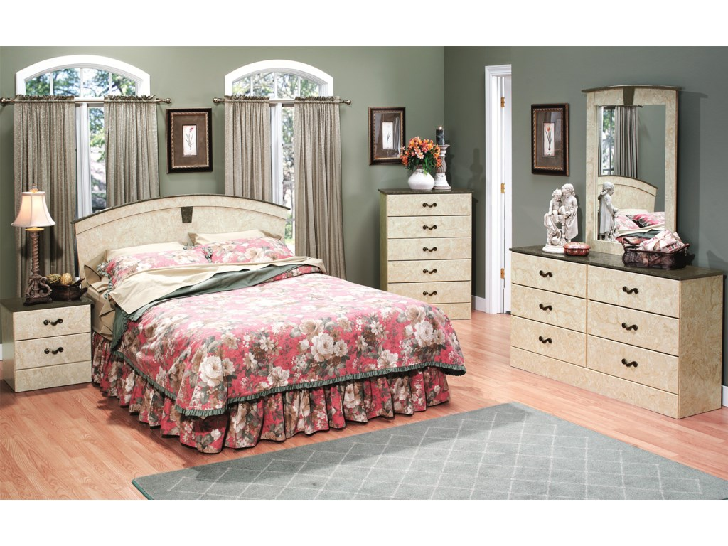 Perdue Sicilian Marble6-Drawer Dresser & Mirror Set