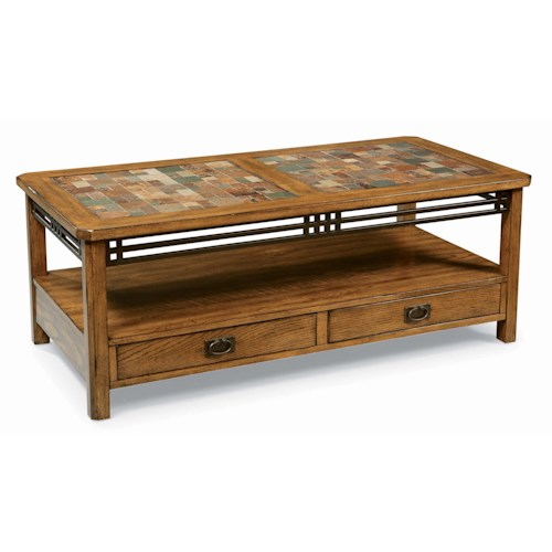 Peters Revington American Craftsman Oak Standard Cocktail Table With Slate Tile Top