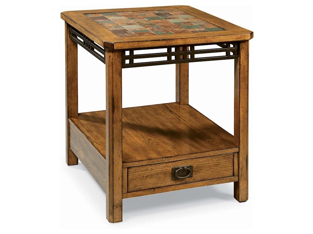 Peters Revington American Craftsman Oak End Table With Slate