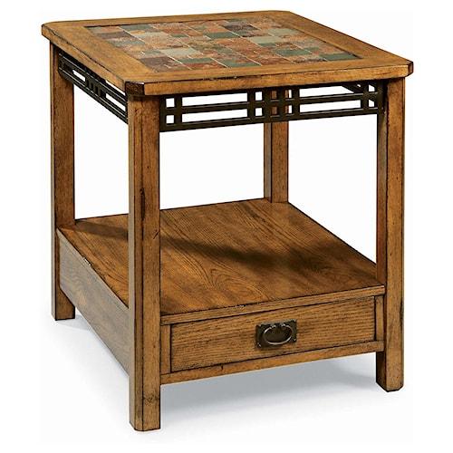 Peters Revington American Craftsman Oak End Table With Slate Tile Top