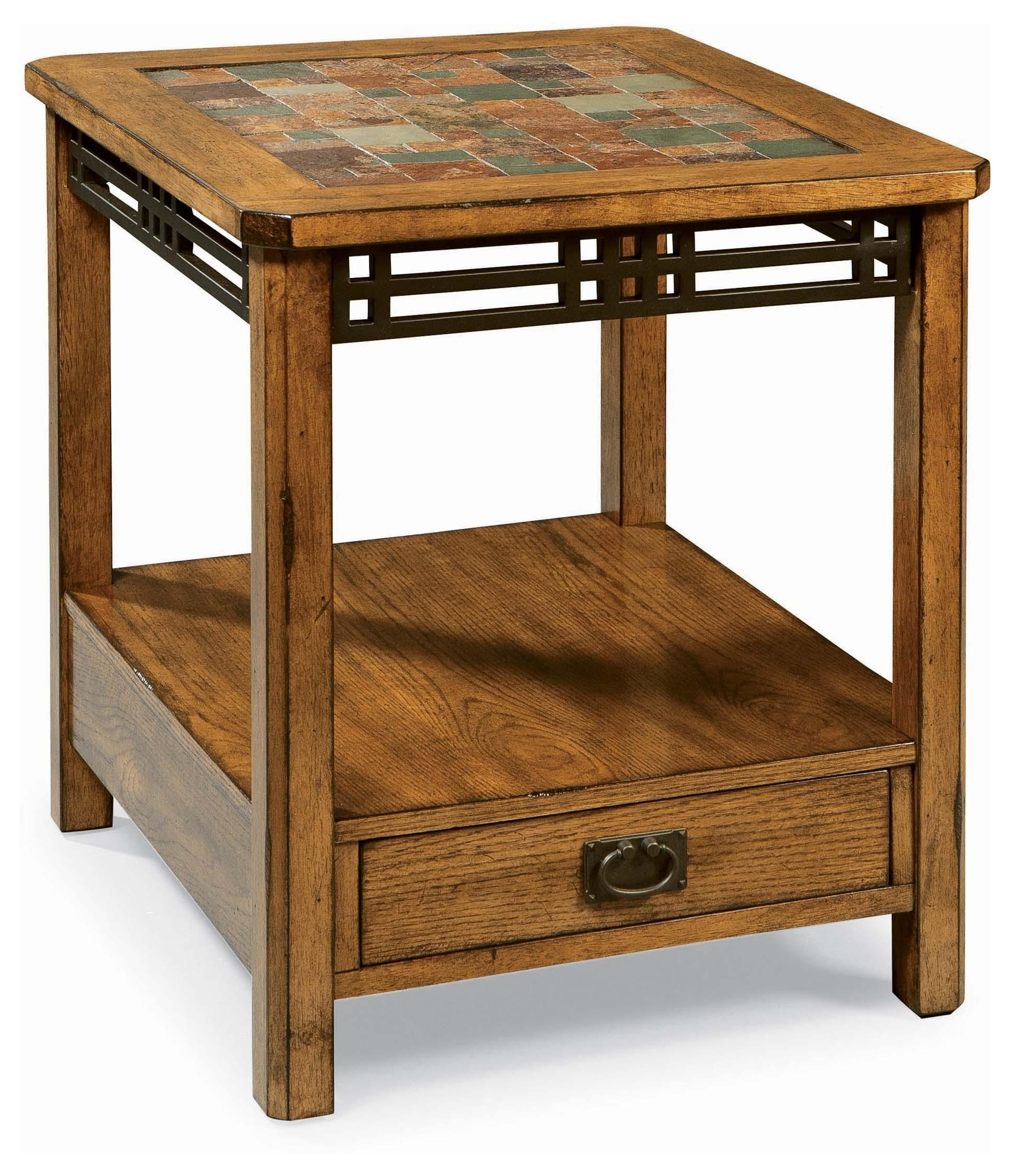 Peters Revington American Craftsman Oak End Table With Slate Tile Top
