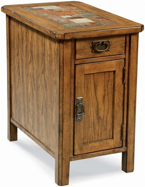 Peters Revington American Craftsman Oak Chairside Cabinet with Slate Tile Top