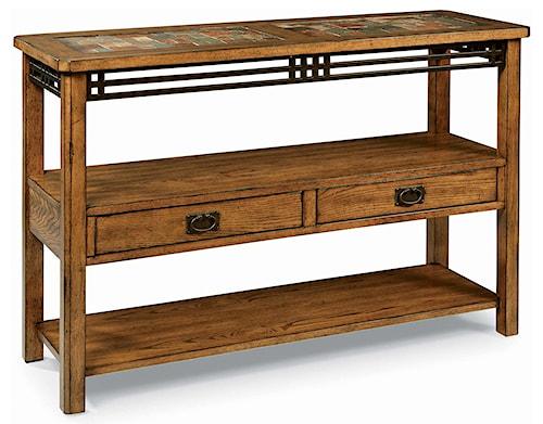 Peters revington american craftsman oak sofa table with slate tile peters revington american craftsman oak sofa table with slate tile top watchthetrailerfo