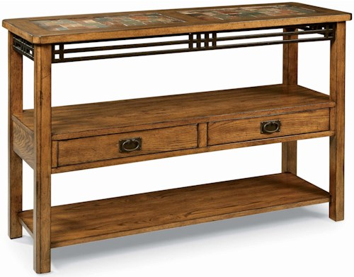 Peters Revington American Craftsman Oak Sofa Table With Slate Tile Top