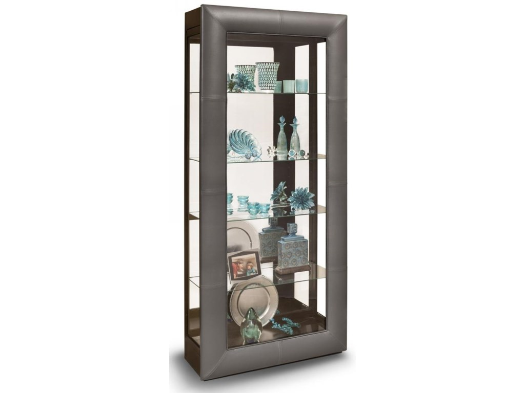 Folio Alamance Curio Cabinet With Padded Leather Front Frame By Philip Reinisch