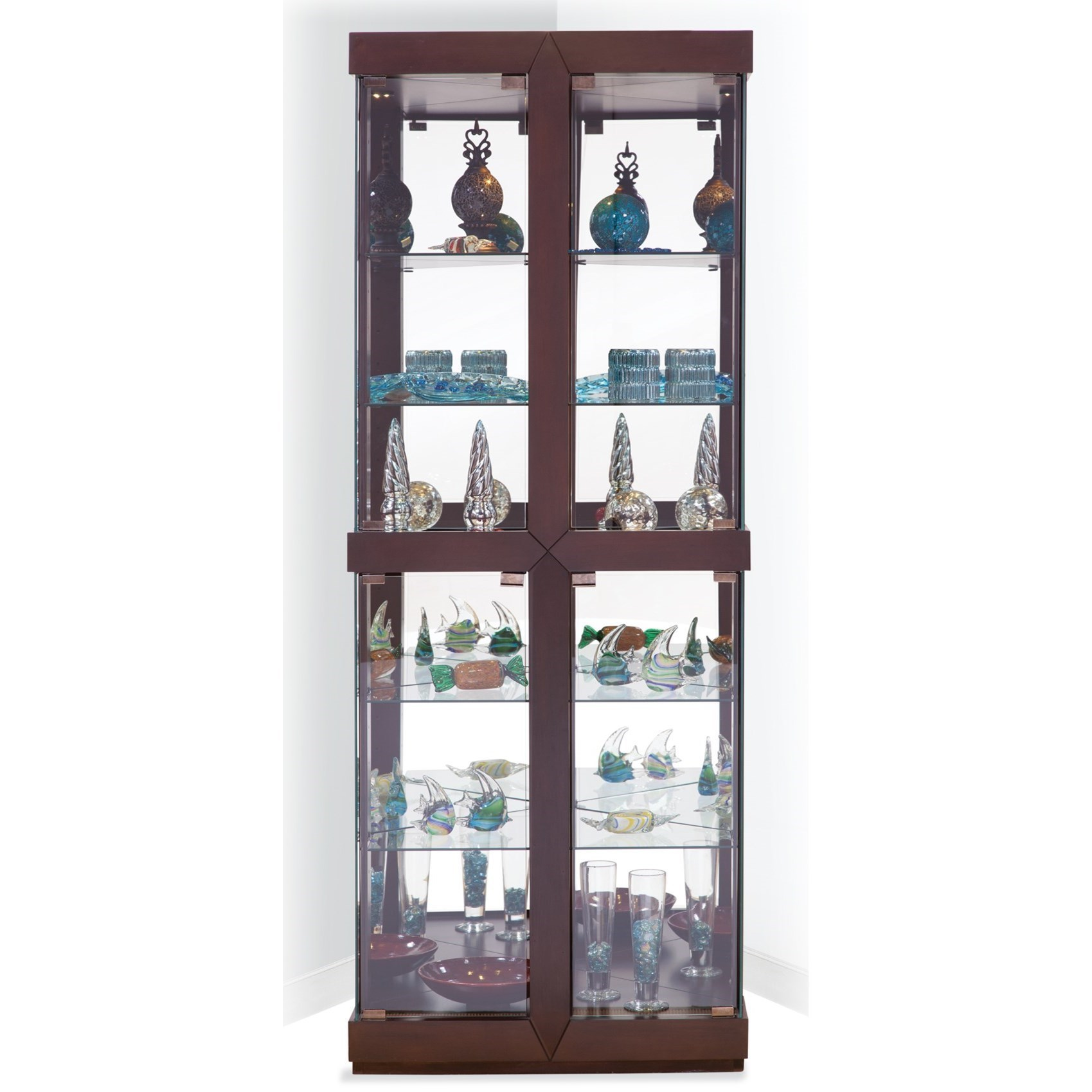 Philip Reinisch Power Cabinets Rohe I Corner Curio Cabinet With Dome  Lighting