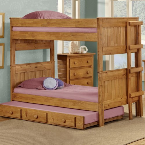 Pine Crafter Youth Bedroom Full/Full Casual Solid Pine Bunk Bed
