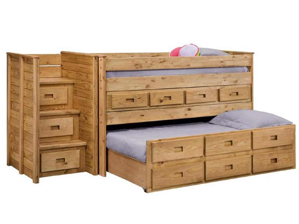 Pine Crafter Youth BedroomTwin Juinor Loft Bed with Trundle
