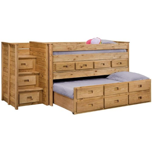 Pine Crafter Youth Bedroom Twin Juinor Loft Bed with Twin Trundle Unit